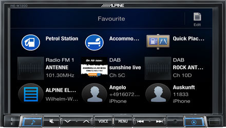 Favourites - Navigation System INE-W720D