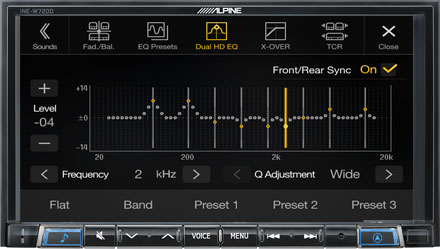 High-end Sound Tuning Options - INE-W720DC